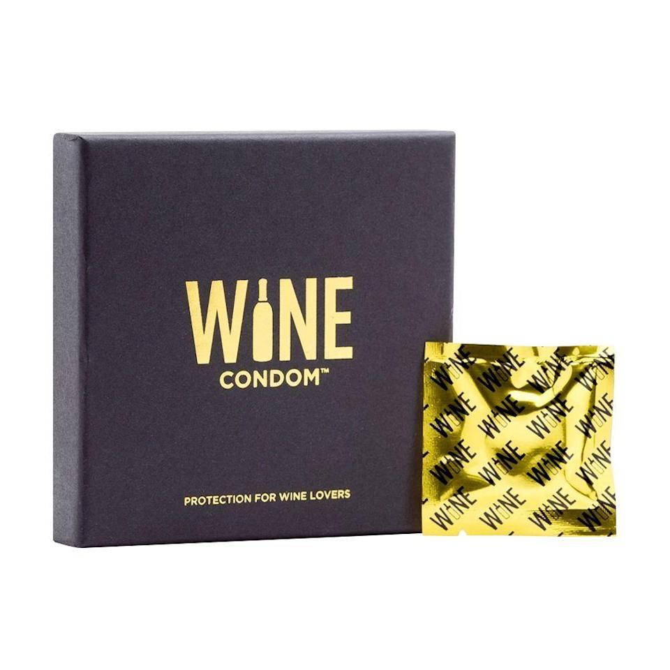 "<p><strong>WINE CONDOM</strong></p><p>amazon.com</p><p><strong>$14.97</strong></p><p><a href=""https://www.amazon.com/dp/B0145WJJVO?tag=syn-yahoo-20&ascsubtag=%5Bartid%7C10055.g.35996140%5Bsrc%7Cyahoo-us"" rel=""nofollow noopener"" target=""_blank"" data-ylk=""slk:Shop Now"" class=""link rapid-noclick-resp"">Shop Now</a></p><p>Create a watertight and airtight seal on any bottle with these novelty wine condoms. No more searching for the right stopper to fit different bottle sizes — wine condoms fit any size and shrink to fit. </p>"