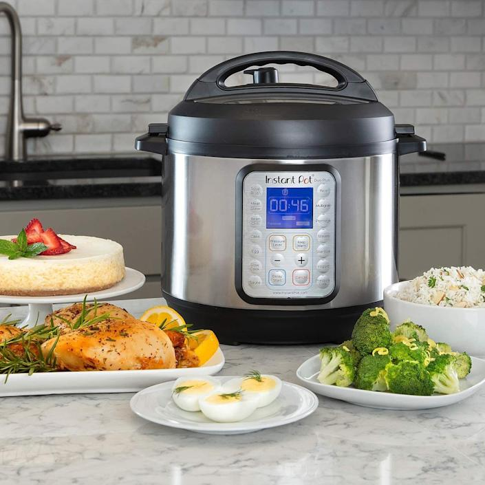 "This gadget has nine appliances in one! It can be used as a slow cooker, pressure cooker, rice cooker, egg cooker and yogurt maker, and it has the ability to sauté, steam, sterilize or warm up meals. <br /><br /><strong></strong><strong>Promising Review:</strong> ""Perfect addition to the Instant Pot family. This little pot does the same incredible job as its bigger brother and sisters. Great for making the side dishes or smaller main dishes. If you haven't gotten on board the Instant Pot train, do not hesitate!  Can you tell I'm completely smitten with this little appliance?! It proudly sits on my counter and is used nearly every single day."" — <a href=""https://amzn.to/3uYdTSn"" target=""_blank"" rel=""nofollow noopener noreferrer"" data-skimlinks-tracking=""5312233"" data-vars-affiliate=""Amazon"" data-vars-href=""https://www.amazon.com/gp/customer-reviews/RYUQY1WR41MP3?tag=bfheather-20&ascsubtag=5312233%2C12%2C33%2Cmobile_web%2C0%2C0%2C0"" data-vars-keywords=""cleaning"" data-vars-link-id=""0"" data-vars-price="""" data-vars-retailers=""Amazon"">Prairie Princess</a><br /><br /><strong>Get it from Amazon for <a href=""https://www.amazon.com/dp/B06Y1YD5W7?tag=bfheather-20&ascsubtag=5312233%2C12%2C33%2Cd%2C0%2C0%2Cgoogle%2C962%3A1%3B901%3A2%3B900%3A2%3B974%3A2%3B975%3A2%3B982%3A2%2C0%2C0"" target=""_blank"" rel=""nofollow noopener noreferrer"" data-skimlinks-tracking=""5312233"" data-vars-affiliate=""Amazon"" data-vars-href=""https://www.amazon.com/dp/B06Y1YD5W7?tag=bfheather-20&ascsubtag=5312233%2C12%2C33%2Cmobile_web%2C0%2C0%2C0"" data-vars-keywords=""cleaning"" data-vars-link-id=""0"" data-vars-price="""" data-vars-retailers=""Amazon"">$69+</a> (available in three sizes).</strong>"