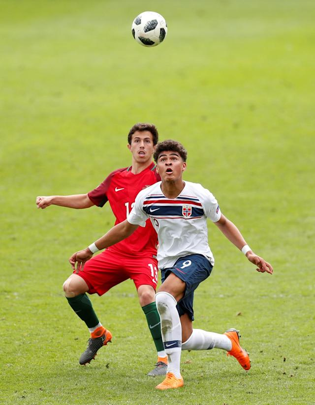 Soccer Football - UEFA European Under-17 Championship - Group B - Portugal v Norway - The Banks's Stadium, Walsall, Britain - May 4, 2018 Portugal's Francisco Saldanha in action with Norway's Noah Jean Holm Action Images via Reuters/Peter Cziborra