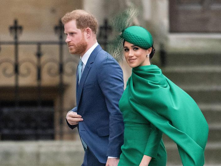 Prince Harry, Duke of Sussex and Meghan, Duchess of Sussex attend the Commonwealth Day Service 2020 on March 09, 2020 in London, England.  (Gareth Cattermole/Getty Images)