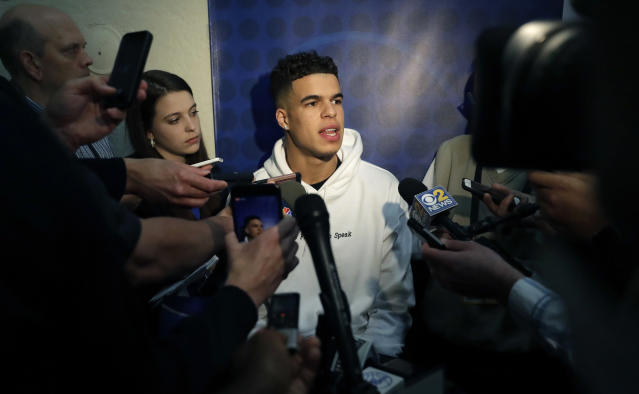 "<a class=""link rapid-noclick-resp"" href=""/ncaab/players/141191/"" data-ylk=""slk:Michael Porter Jr."">Michael Porter Jr.</a>, from Missouri, speaks to reporters during the NBA draft basketball combine Thursday, May 17, 2018, in Chicago. (AP Photo/Charles Rex Arbogast)"