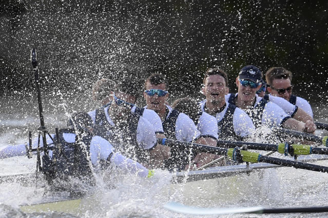 Britain Rowing - 2017 Oxford v Cambridge University Boat Race - River Thames, London - 2/4/17 The Oxford crew celebrate after winning the men's Boat Race Reuters / Toby Melville Livepic