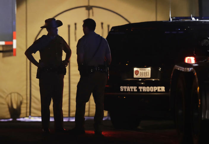 <p>Law enforcement officials work at the scene of a shooting at the First Baptist Church of Sutherland Springs, Nov. 5, 2017, in Sutherland Springs, Texas. (Eric Gay/AP) </p>