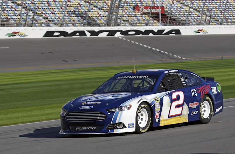 FILE - In this Jan. 11, 2013, file photo, Brad Keselowski drives on pit road during NASCAR auto race testing at Daytona International Speedway in Daytona Beach, Fla. There's a buzz about NASCAR and the season-opening Daytona 500 that has nothing to do with an exploding jet dryer or a well-timed tweet. NASCAR's new Gen-6 race car makes its long-awaited debut and the success of the 2013 season could depend heavily on its performance. (AP Photo/John Raoux, File)