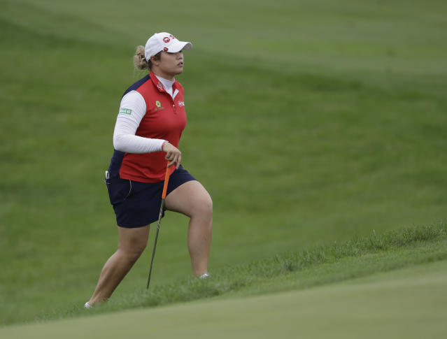 Ariya Jutanugarn, of Thailand, watches walks to the ninth green during the second round of the Indy Women in Tech Championship golf tournament, Friday, Aug. 17, 2018, Indianapolis. (AP Photo/Darron Cummings)