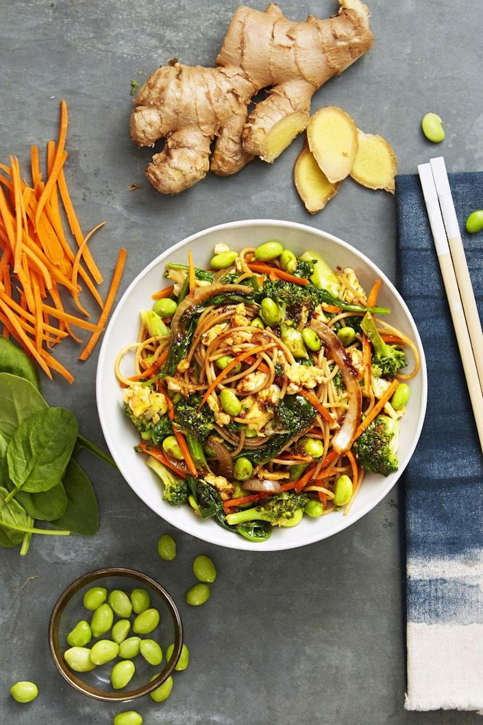 """<p>This take on the classic takeout food is crazy healthy thanks to all the veggies. </p><p><em><a href=""""https://www.goodhousekeeping.com/food-recipes/easy/a34238/veggie-lo-mein/"""" rel=""""nofollow noopener"""" target=""""_blank"""" data-ylk=""""slk:Get the recipe for Veggie Lo Mein »"""" class=""""link rapid-noclick-resp"""">Get the recipe for Veggie Lo Mein »</a></em> </p>"""