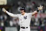 New York Yankees Luke Voit celebrates after hitting a game-winning, RBI single in the bottom fo the ninth allowing Tyler Wade to score in the Yankees 6-5 victory over the Kansas City Royals in a baseball game, Wednesday, June 23, 2021, at Yankee Stadium in New York. (AP Photo/Kathy Willens)