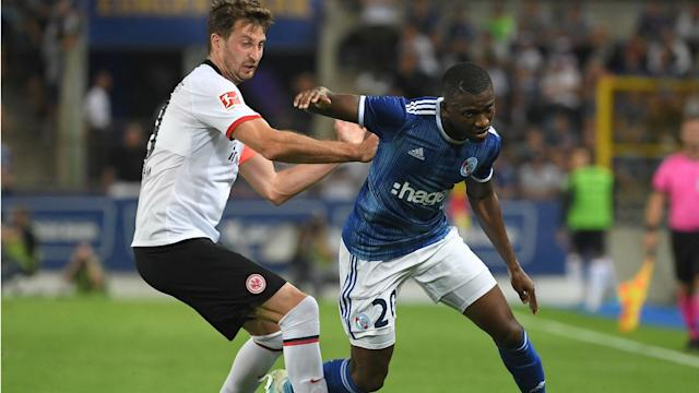 The 22-year-old's first half effort was enough to hand Le Racing a vital first leg advantage over Adi Hutter's side in France