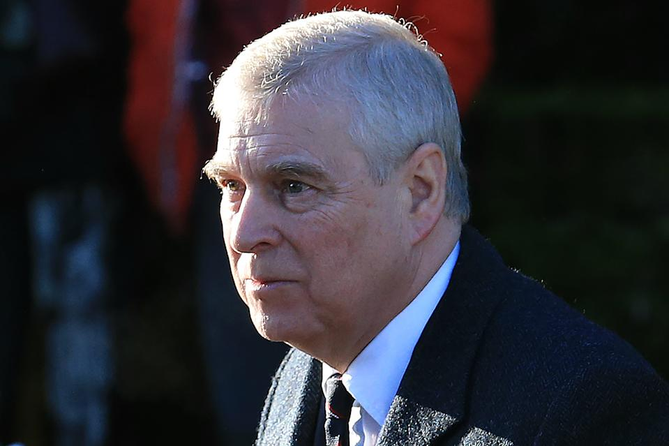 Britain's Prince Andrew, Duke of York, arrives to attend a church service at St Mary the Virgin Church in Hillington, Norfolk, eastern England, on January 19, 2020. - Britain's Prince Harry and his wife Meghan will give up their royal titles and public funding as part of a settlement with the Queen to start a new life away from the British monarchy. The historic announcement from Buckingham Palace on Saturday follows more than a week of intense private talks aimed at managing the fallout of the globetrotting couple's shock resignation from front-line royal duties. (Photo by Lindsey Parnaby / AFP) (Photo by LINDSEY PARNABY/AFP via Getty Images)