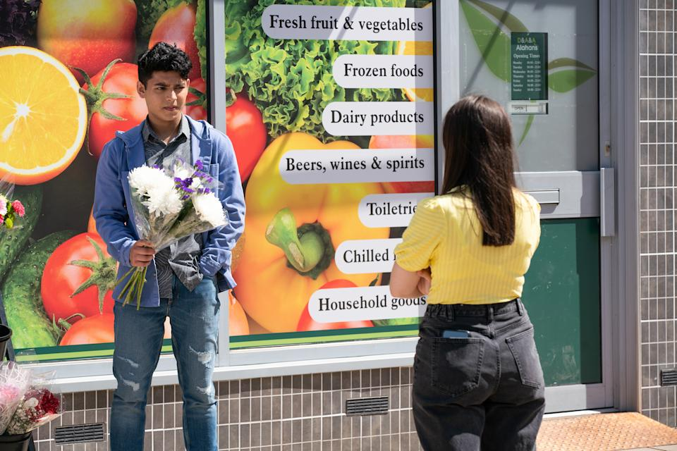 FROM ITV  STRICT EMBARGO - No Use Before Tuesday 27th July 2021  Coronation Street - 10396  Friday 6th August 2021 - 1st Ep  As Amy Barlow [ELLE MULVANEY] chats to Aadi Alahan [ADAM HUSSAIN] outside the shop, Tracy McDoanld [KATE FORD] watches, convinced they're an item.   Picture contact David.crook@itv.com  Photographer - Danielle Baguley  This photograph is (C) ITV Plc and can only be reproduced for editorial purposes directly in connection with the programme or event mentioned above, or ITV plc. Once made available by ITV plc Picture Desk, this photograph can be reproduced once only up until the transmission [TX] date and no reproduction fee will be charged. Any subsequent usage may incur a fee. This photograph must not be manipulated [excluding basic cropping] in a manner which alters the visual appearance of the person photographed deemed detrimental or inappropriate by ITV plc Picture Desk. This photograph must not be syndicated to any other company, publication or website, or permanently archived, without the express written permission of ITV Picture Desk. Full Terms and conditions are available on  www.itv.com/presscentre/itvpictures/terms