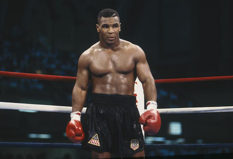 ATLANTIC CITY, NJ - JULY 21: Mike Tyson stands in the ring during the fight with Carl Williams at the Convention Center on July 21, 1989 in Atlantic City, New Jersey. Tyson defeated Williams in the fifth round with a TKO. (Focus on Sport via Getty Images)