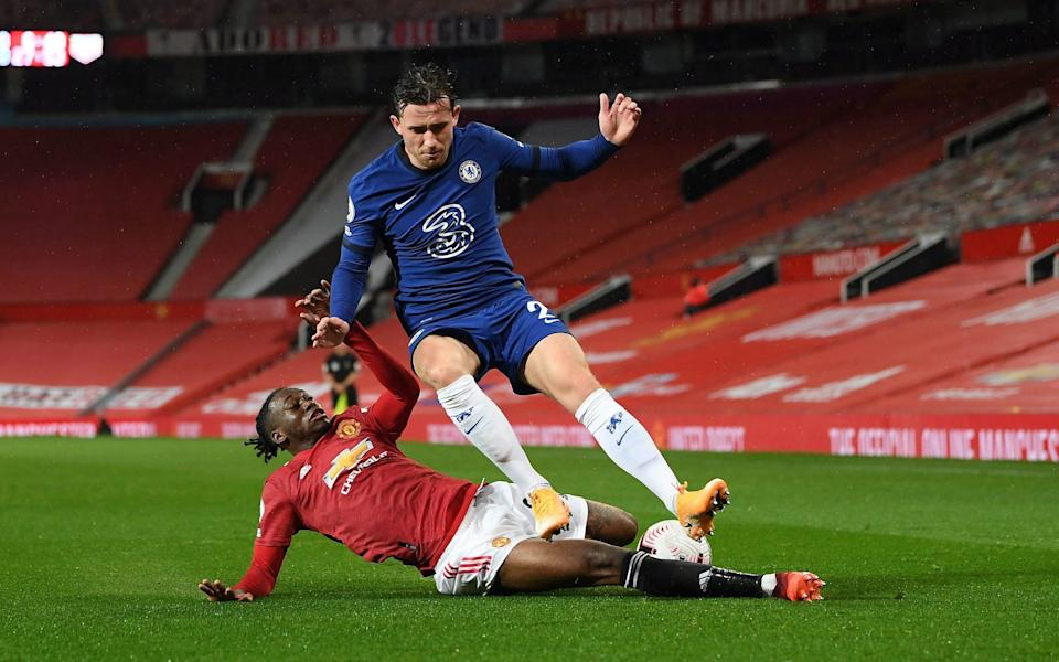Entertainment was at a premium during Chelsea's 0-0 draw at a very wet Manchester United - Aaron Wan-Bissaka managed to impress with a solid defensive display  - PA