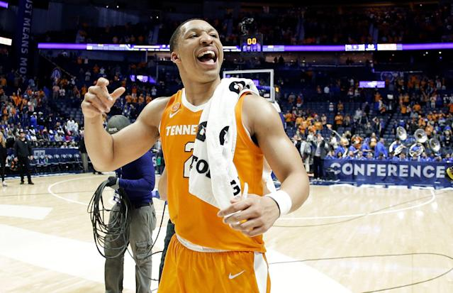 Tennessee forward Grant Williams celebrates after Tennessee beat Kentucky 82-78 in an NCAA college basketball game at the Southeastern Conference tournament Saturday, March 16, 2019, in Nashville, Tenn. (AP Photo/Mark Humphrey)