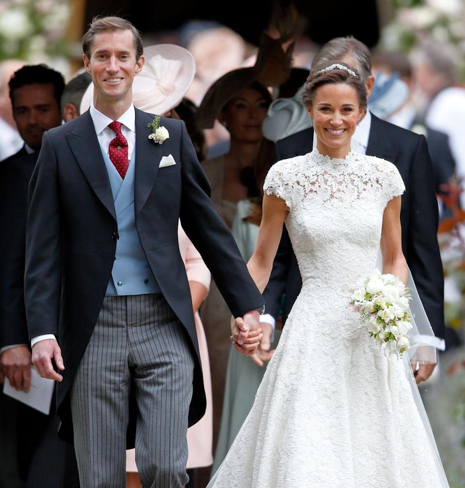 <p>Pippa looked lovely in her white Giles Deacon dress for her wedding to financier James Matthews.</p>