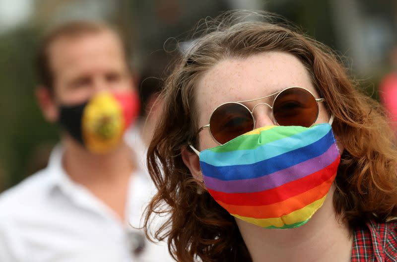 FILE PHOTO: People gather outside the European Union institutions in solidarity with Poland's LGBT community, in Brussels