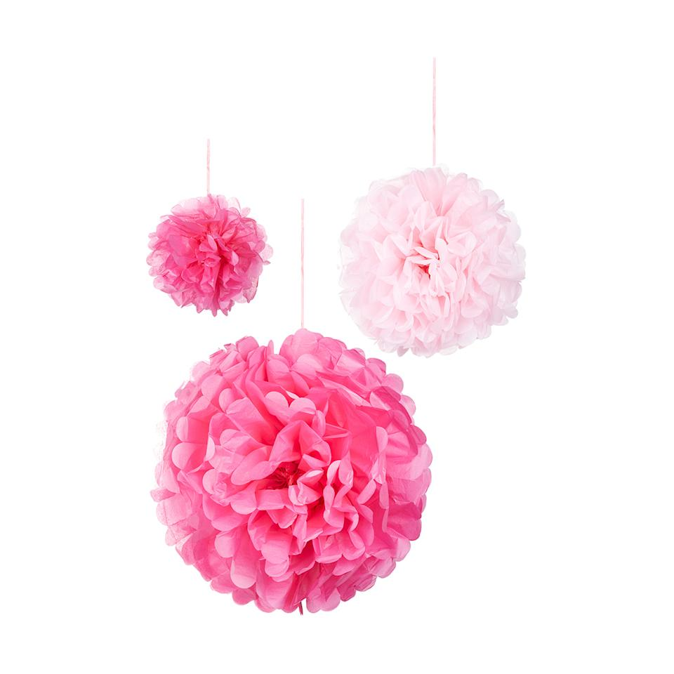 Kmart product photo of 3 Pack Pink Mix Pom Pom Balls
