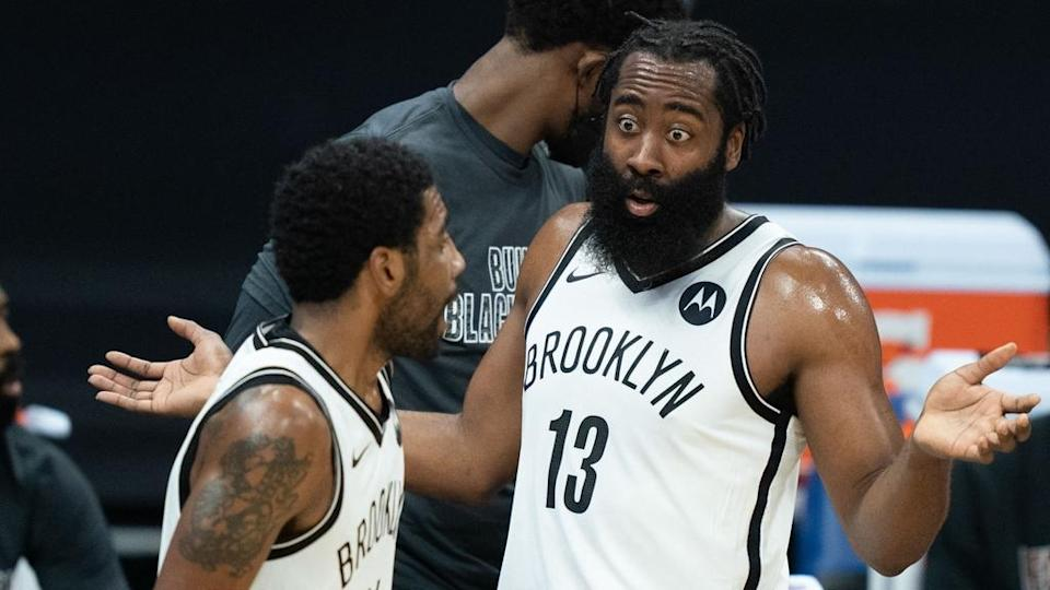 Harden looking confused toward Kyrie Irving