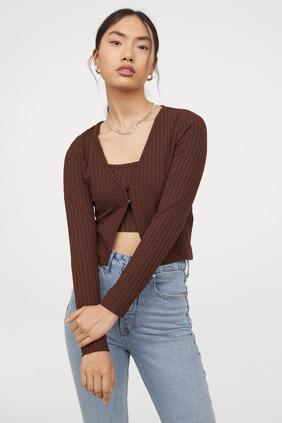 <p>There's something so simple yet elevated about this <span>Fine-Knit Cardigan</span> ($10, oriignally $13) - pair it with black leather pants. Complete your look with a trench coat and some heeled boots.</p>