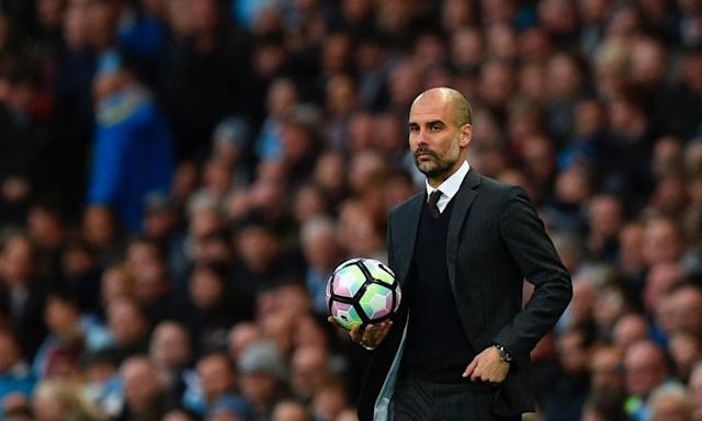 """<span class=""""element-image__caption"""">Pep Guardiola's side shaped up like Manchester City under Manuel Pellegrini for their vital derby.</span> <span class=""""element-image__credit"""">Photograph: Oli Scarff/AFP/Getty Images</span>"""
