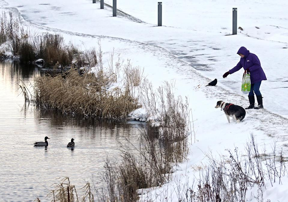 <p>A woman feeds the ducks on the Forth and Clyde canal in Helix Park, Falkirk, as heavy snow has caused more misery for travellers overnight, with the wintry weather disruption set to continue during the morning rush hour. (Andrew Milligan/PA Wire) </p>