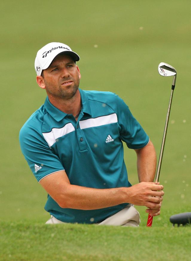 GREENSBORO, NC - AUGUST 20: Sergio Garcia of Spain hits his third shot on the 15th hole during the final round of the Wyndham Championship at Sedgefield Country Club on August 20, 2012 in Greensboro, North Carolina. (Photo by Hunter Martin/Getty Images)