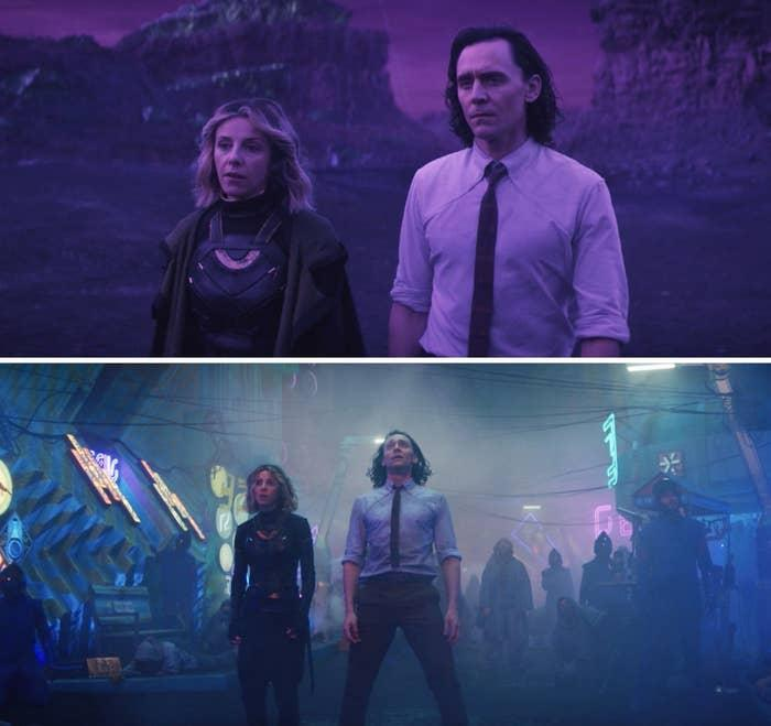 Loki and Sylvie standing side by side on Lamentis