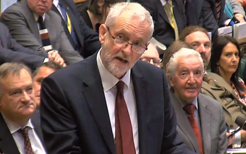 Jeremy Corbyn at PMQs on Wednesday - Credit: PA