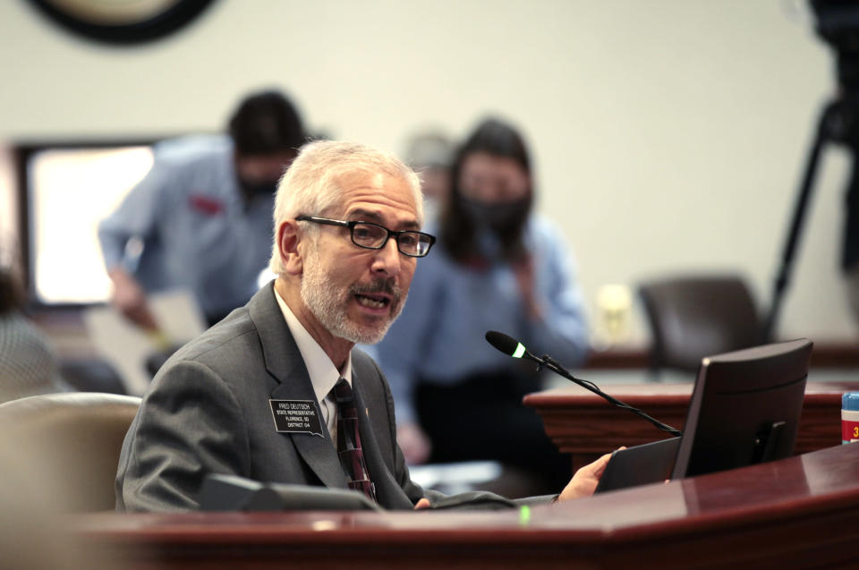 Rep. Fred Deutsch, a Watertown Republican, testifies at the South Dakota Capitol in Pierre on Tuesday, Jan. 26, 2021, to support his bill that would have banned people from updating the sex on their birth certificates. (AP Photo/Stephen Groves)