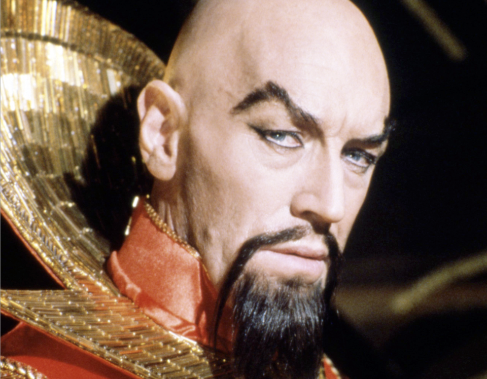 Max von Sydow as Emperor Ming the Merciless in 'Flash Gordon', directed by Mike Hodges, 1980 (Credit: Silver Screen Collection/Getty Images)