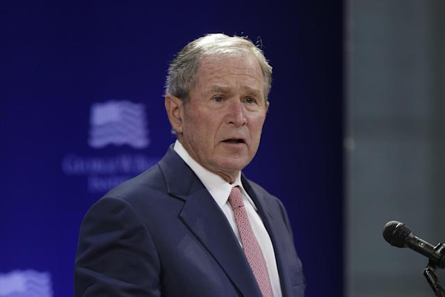 Former President George W. Bush speaks in New York on Thursday. (AP Photo/Seth Wenig)