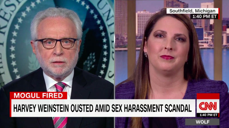 RNC Chair Struggles To Explain Why Harvey Weinstein Is A Monster But Trump Isn't