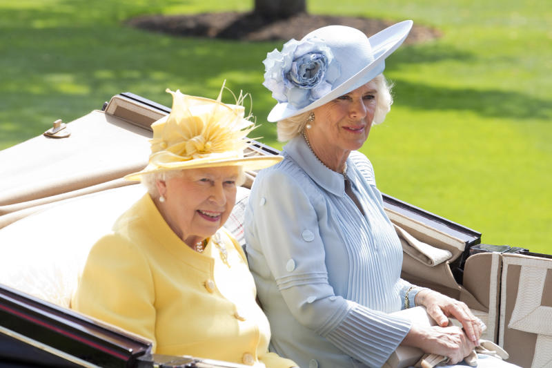 ASCOT, ENGLAND - JUNE 21: Queen Elizabeth II, and Camilla, Duchess of Cornwall arrive with the Royal Procession on the second day of Royal Ascot at Ascot Racecourse on June 21, 2017 in Ascot, England.(Photo by Julian Parker/UK Press via Getty Images)