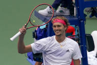Alexander Zverev, of Germany, reacts after defeating Borna Coric, of Croatia, during the quarterfinals of the US Open tennis championships, Tuesday, Sept. 8, 2020, in New York. (AP Photo/Seth Wenig)