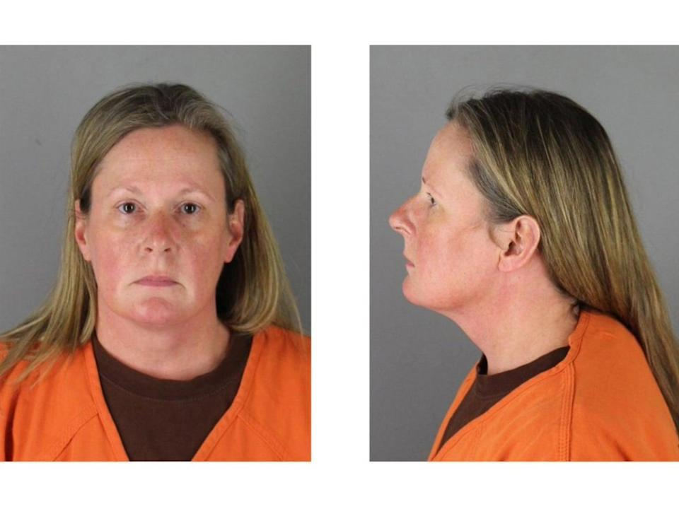 <p>A booking photo of Kimberly Potter following her arrest on suspicion of manslaughter following the fatal shooting of Daunte Wright</p> (Hennepin County Sheriff)