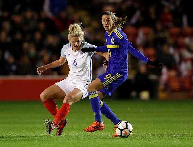 Soccer Football - Women's World Cup Qualifier - England vs Bosnia & Herzegovina - The Banks's Stadium, Walsall, Britain - November 24, 2017 England's Millie Bright in action with Bosnia's Milena Nikolic Action Images via Reuters/Andrew Boyers
