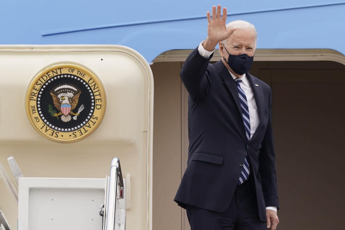 FILE - In this March 16, 2021, file photo, President Joe Biden waves from the top of the steps of Air Force One at Andrews Air Force Base, Md. On Biden's first foreign trip as president, he will find many of his hosts in Europe welcoming but wary after a tense four years between Europe and the U.S. under former President Donald Trump. (AP Photo/Susan Walsh, File)