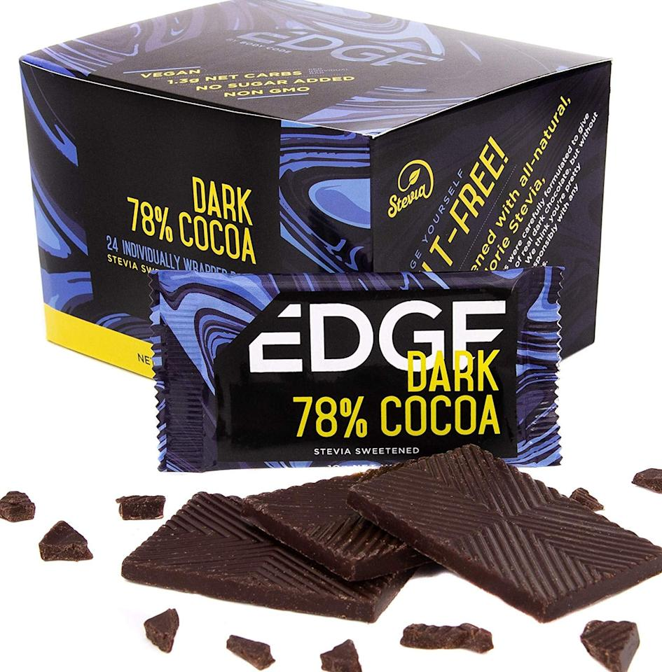 """<p>These <a href=""""https://www.popsugar.com/buy/Edge-Keto-Friendly-78-Dark-Chocolate-Bars-455575?p_name=Edge%20Keto-Friendly%2078%25%20Dark%20Chocolate%20Bars&retailer=amazon.com&pid=455575&price=30&evar1=fit%3Aus&evar9=46234745&evar98=https%3A%2F%2Fwww.popsugar.com%2Ffitness%2Fphoto-gallery%2F46234745%2Fimage%2F46234747%2FEdge-Keto-Friendly-78-Dark-Chocolate-Bars&list1=shopping%2Camazon%2Cchocolate%2Cdessert%2Ctreats%2Clow-carb&prop13=mobile&pdata=1"""" rel=""""nofollow"""" data-shoppable-link=""""1"""" target=""""_blank"""" class=""""ga-track"""" data-ga-category=""""Related"""" data-ga-label=""""https://www.amazon.com/Edge-Keto-Friendly-Chocolate-Snack/dp/B07H73F4CF/ref=sr_1_7?crid=2Q4X8W7LN0W5B&amp;keywords=low-carb%2Bchocolate&amp;qid=1559745791&amp;s=gateway&amp;sprefix=low-carb%2Bcho%2Caps%2C116&amp;sr=8-7&amp;th=1"""" data-ga-action=""""In-Line Links"""">Edge Keto-Friendly 78% Dark Chocolate Bars</a> ($30 for 24) are the perfect size for an afternoon snack, and they've only got one gram of net carbs.</p>"""