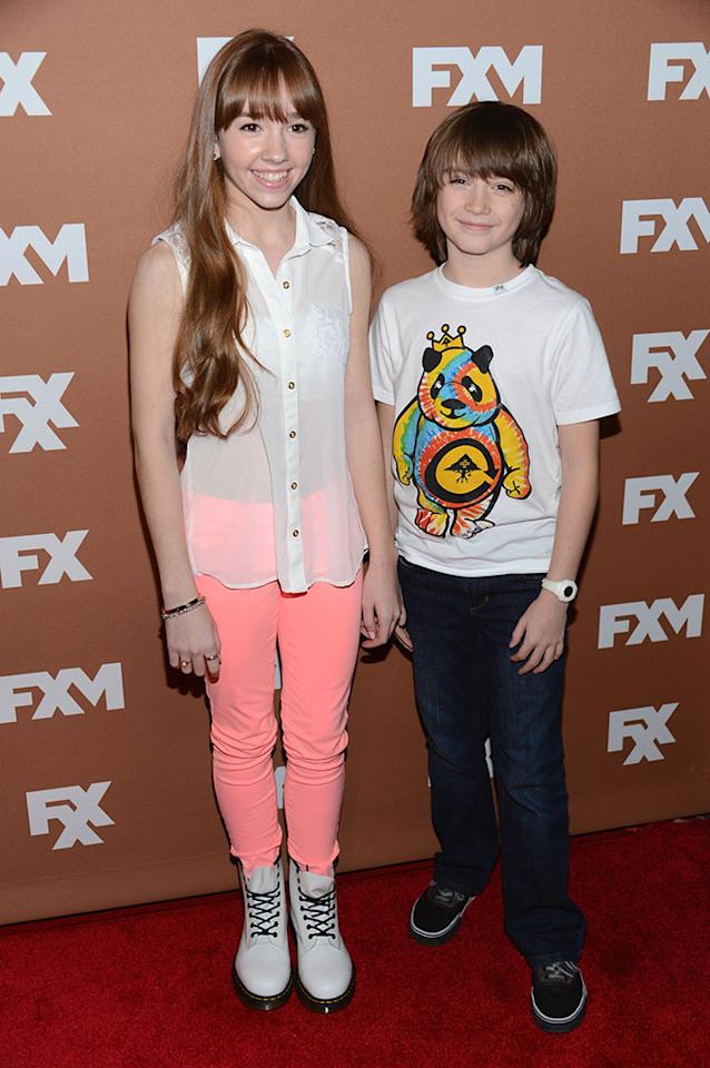 Holly Taylor and Keidrich Sellati attend the 2013 FX Upfront Bowling Event at Luxe at Lucky Strike Lanes on March 28, 2013 in New York City.
