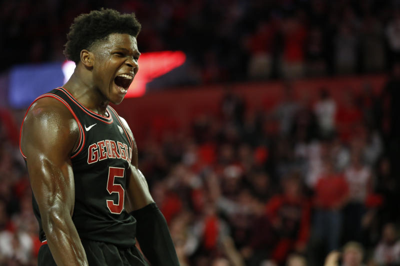 Georgia's Anthony Edwards (5) celebrates after dunking against Texas A&M during an NCAA basketball game in Athens, Ga., on Saturday, Feb. 1, 2020. (Joshua L. Jones/Athens Banner-Herald via AP)