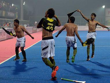 File image of Pakistan hockey players making obscene gestures at the crowd during 2014 Champions Trophy semi-final win over India. AFP