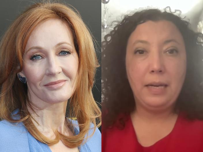 J.K. Rowling, left, who has been sharply criticized ever since she defended Maya Forstater, right, who lost her job after sharing her
