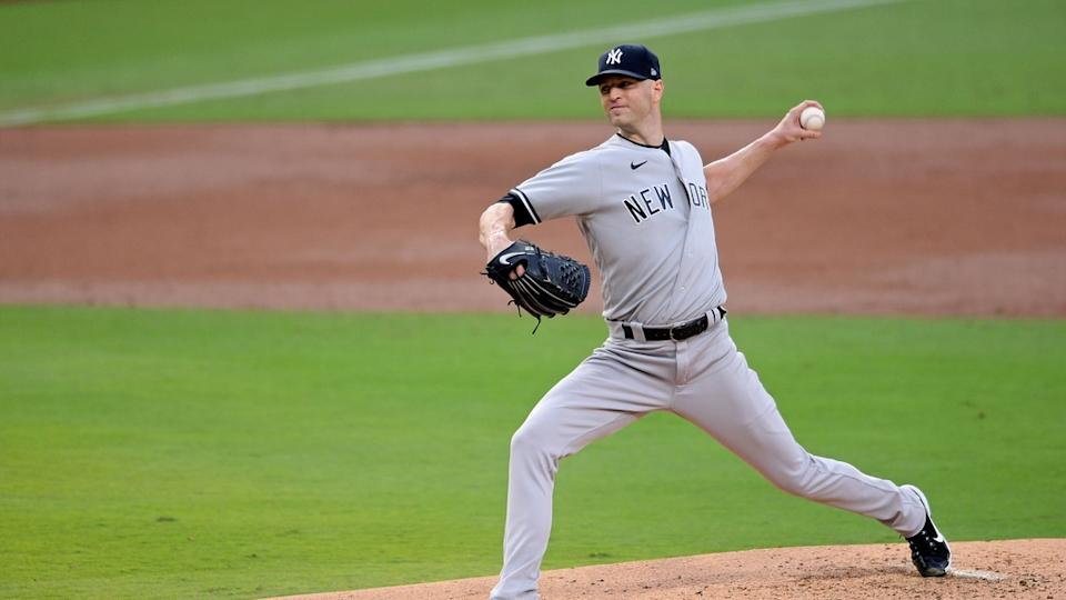 Side angle of J.A. Happ pitching against the Rays ALDS Game 2