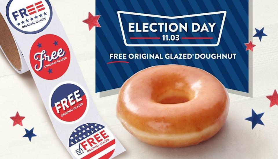 Krispy Kreme is giving away doughnuts this Election Day.