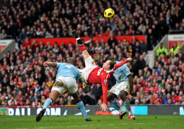 Wayne Rooney's stunning bicycle kick settled the Manchester derby in February 2011. Rooney left Old Trafford in 2017 having scored a record 253 Manchester United goals and also ended the decade as England's top scorer after notching 53 times in 120 international appearances (Martin Rickett/PA)