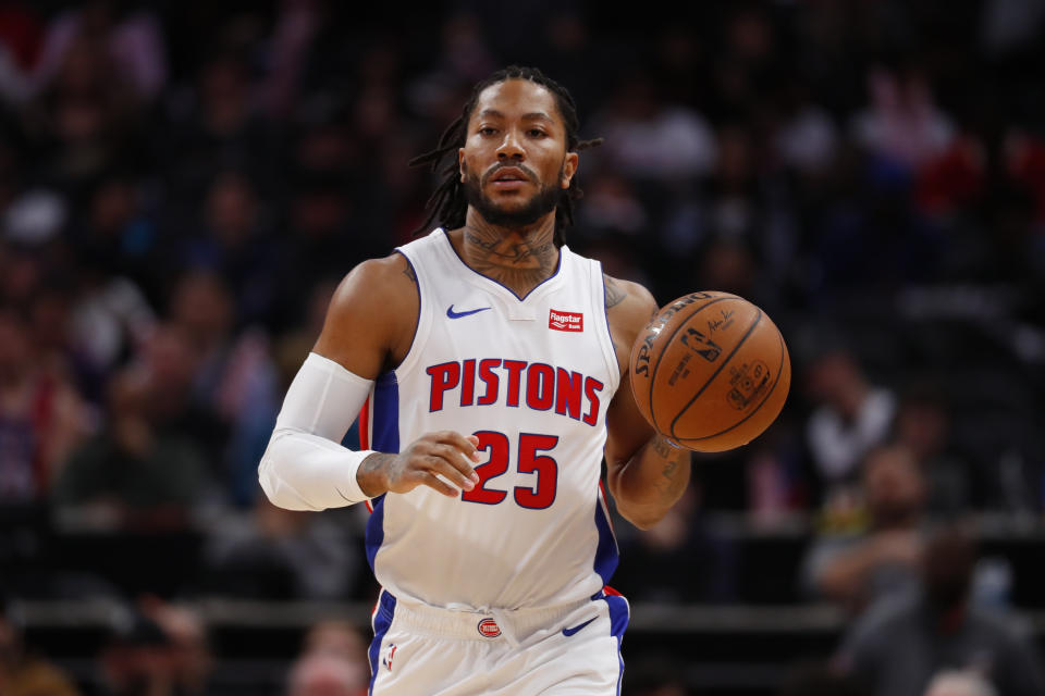 Detroit Pistons guard Derrick Rose plays against the Washington Wizards in the first half of an NBA basketball game in Detroit, Monday, Dec. 16, 2019. (AP Photo/Paul Sancya)