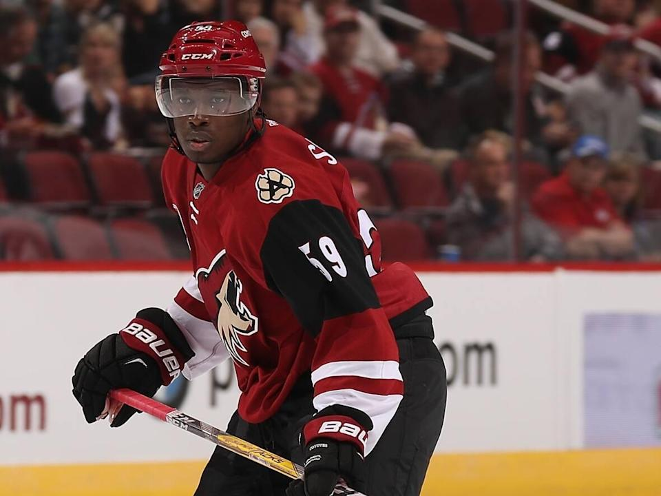 Jalen Smereck, shown in this file photo with the Arizona Coyotes in 2016, reached a mutual agreement with Ukranian Hockey League team HC Donbass to terminate his contract on Sunday. (Christian Petersen/Getty Images - image credit)