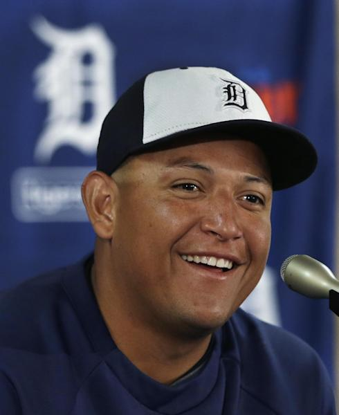 Detroit Tigers first baseman Miguel Cabrera is seen during a news conference where the details of Cabrera's eight-year contract extension was officially announced in Lakeland, Fla., Friday, March 28, 2014. (AP Photo/Carlos Osorio)