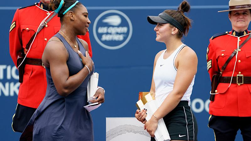 Serena Williams and Bianca Andreescu showed some wonderful sportsmanship after the Rogers Cup final. (Photo by Julian Avram/Icon Sportswire via Getty Images)