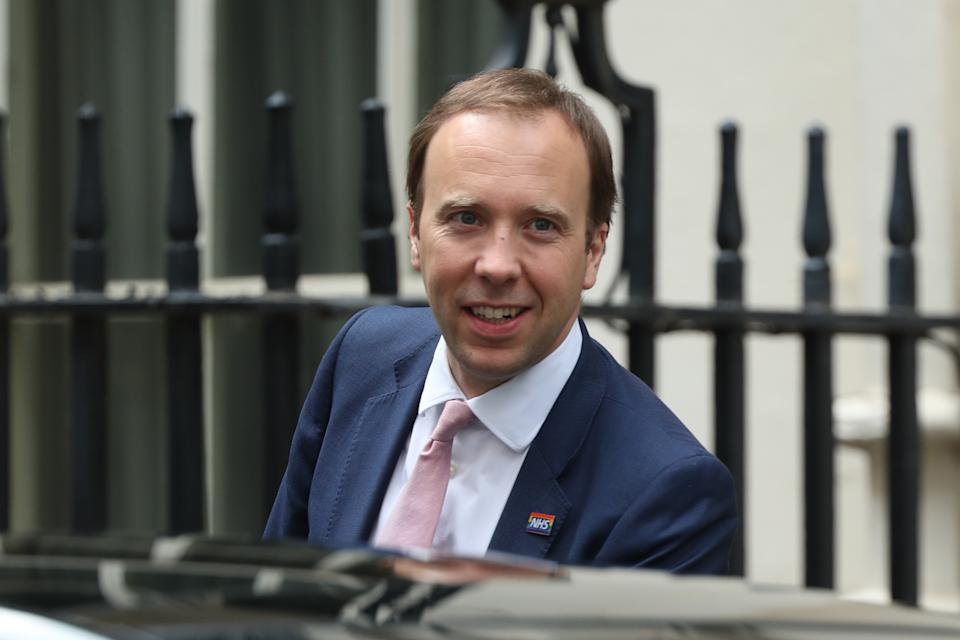 Health Secretary Matt Hancock leaves Downing Street, London, after this evening's press conference. (Photo by Yui Mok/PA Images via Getty Images)