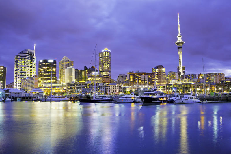 Auckland skyline with Sky Tower. Viaduct Basin